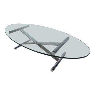 Oval Shaped Glass Top Coffee Table With Chrome Base For Sale