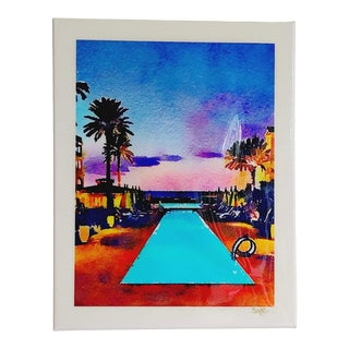 Tropical Island Sunset - Contemporary Swimming Pool Art Digital Watercolor Print by Suzanne MacCrone Rogers For Sale