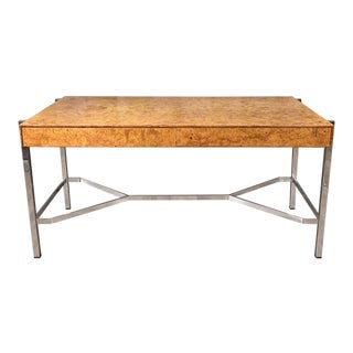 Notable Jack Freidin for Pace Burl Wood and Chrome Desk For Sale