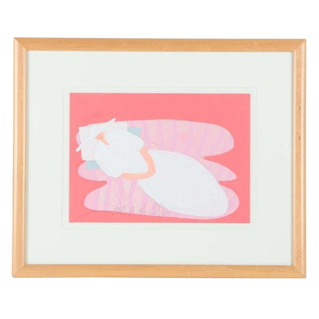 """Original """"Reclining Woman"""" Framed Acrylic on Paper Painting by Jim N. Hill For Sale"""