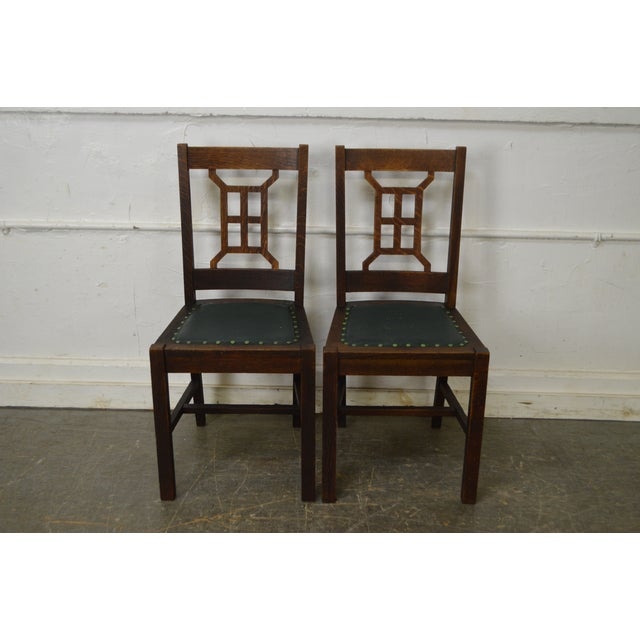 STORE ITEM #: 16314-fw Michigan Chair Co. Antique Set of 4 Mission - Antique Mission Style Michigan Chair Co. Dining Chairs - Set Of 4