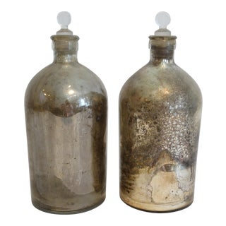 Antique Mercury Glass Apothecary Bottles - A Pair