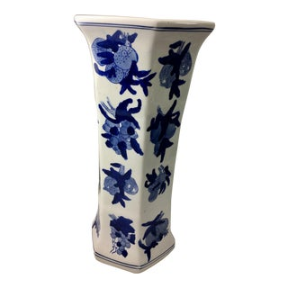 Blue & White Export Style Tall Vase For Sale