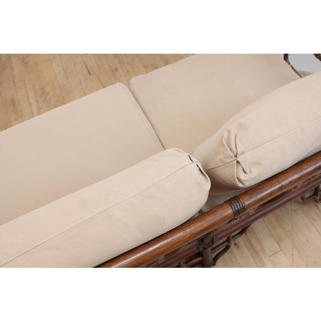 Chinese Chippendale Bamboo and Leather Sofa For Sale - Image 9 of 10