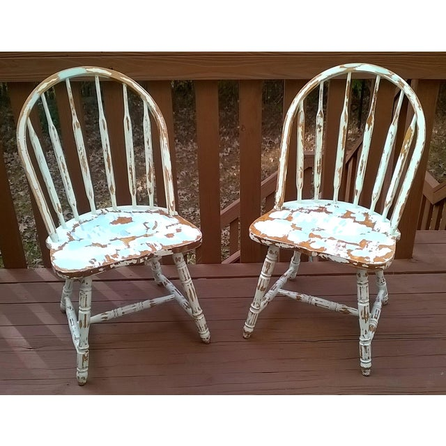 Distressed Farmhouse Living Room: Distressed Farmhouse Windsor Chairs - A Pair