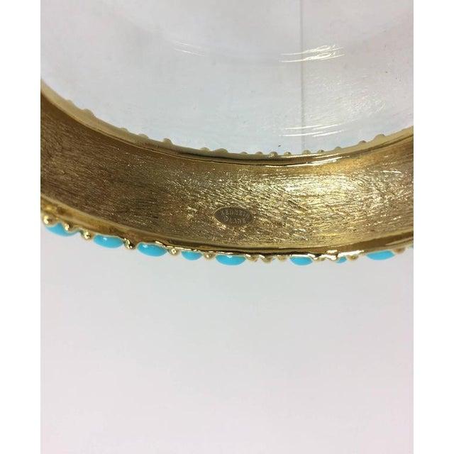 1970s Kenneth Lane Turquoise Cabochon Encrusted Gold Clamper Bracelet For Sale - Image 5 of 6