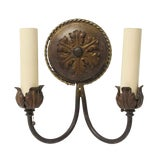Image of 1910s Antique Hand Forged Metal Double Arm Sconce For Sale
