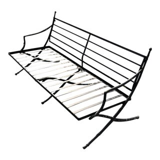 1950s Vintage Hollywood Regency Outdoor Wrought Iron Sofa For Sale