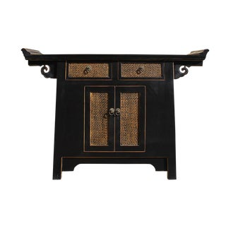 Chinese Black Rattan Altar Console Cabinet