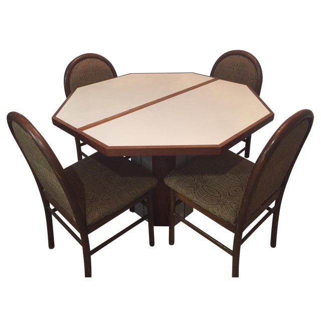 5-Piece Vintage Teak & Corian Dining Set - Image 1 of 9