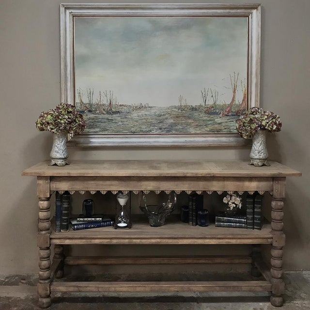 Renaissance Early 19th Century Rustic Renaissance Stripped Oak Counter For Sale - Image 3 of 13