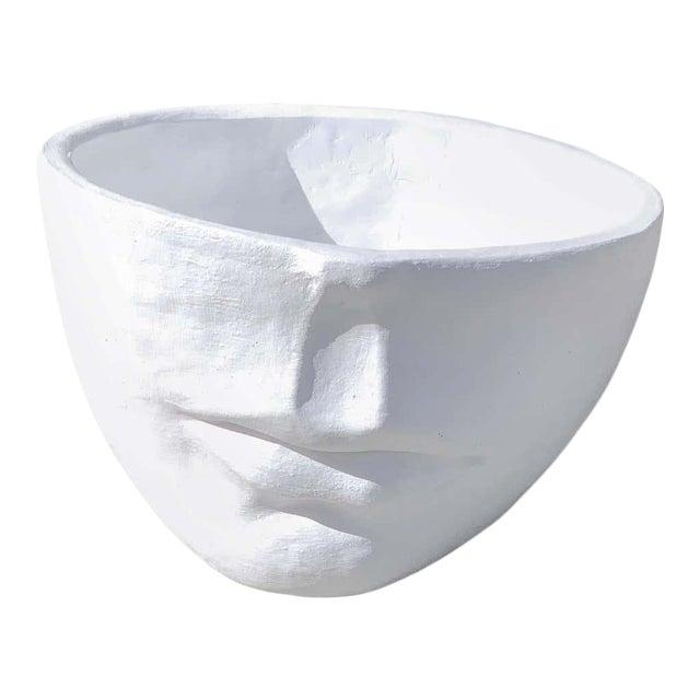 Modern Cast Stone Half Face Planter For Sale