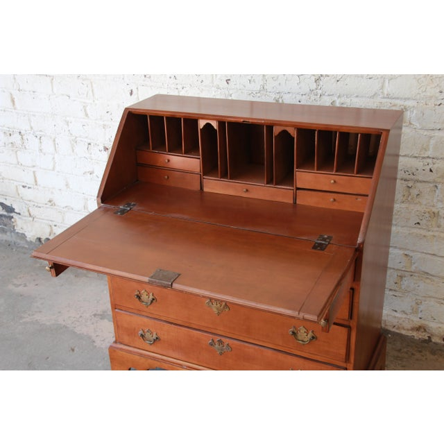 18th Century 18th Century Early American Chippendale Cherry Wood Drop-Front Secretary Desk For Sale - Image 5 of 13