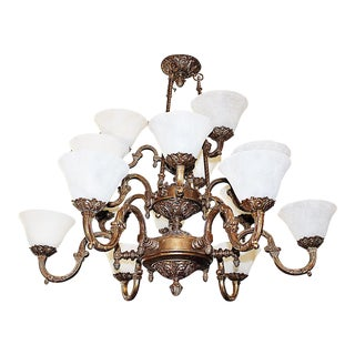 Gilt Metal Neoclassical Chandelier