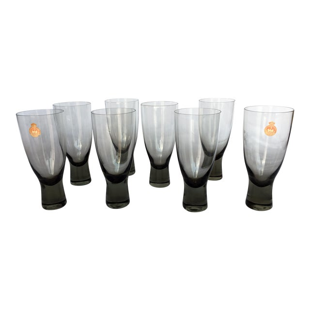 Holmegaard Mid-Century Danish Smokey Wine Port Glasses - Set of 8 - Image 1 of 6