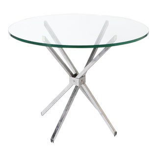 Polished Steel Table With Clear Glass Top, C. 1950 For Sale