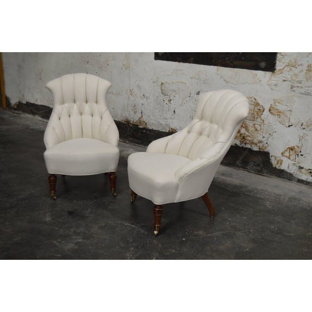 Off-white Pair of Vintage Swedish Emma Tufted Slipper Chairs, circa 1900's For Sale - Image 8 of 11