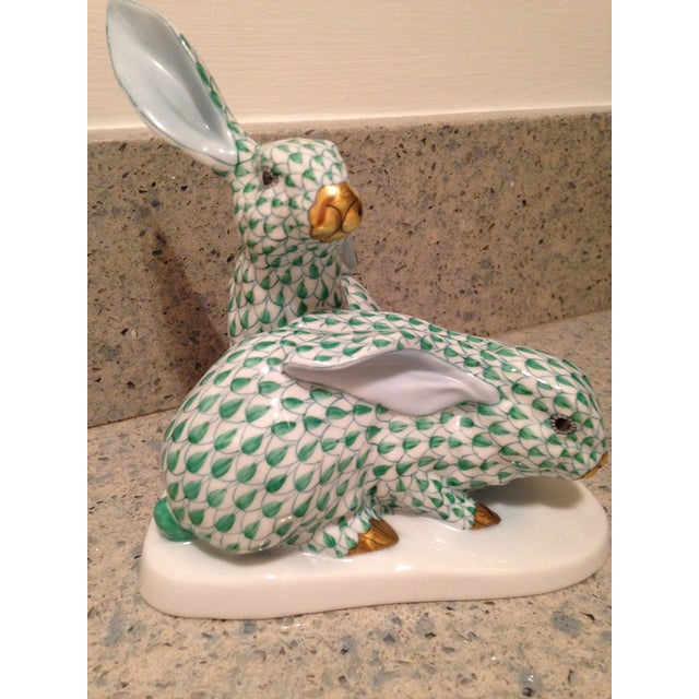 Herend Green Rabbits Figurine - Image 2 of 4