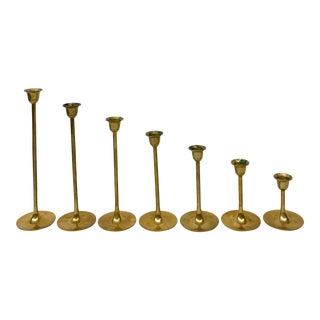 Mid Century Vintage Solid Brass Stepping Candle Holders- Set of 7 For Sale