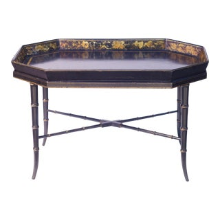 19th C. English Paper Mache Tray Table For Sale