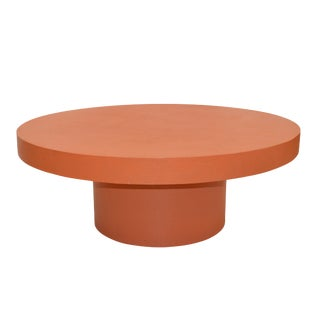 Contemporary Orange Grass Cloth Coffee Table For Sale