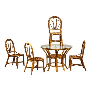 Vintage Bamboo Dining Room Table & Chairs For Sale