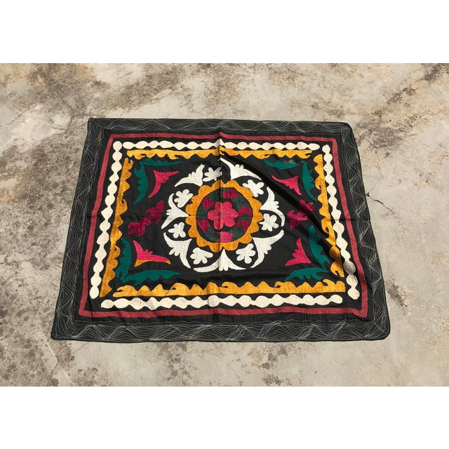 Textile Vintage Small Handmade Suzani Fabric Table Cover For Sale - Image 7 of 7
