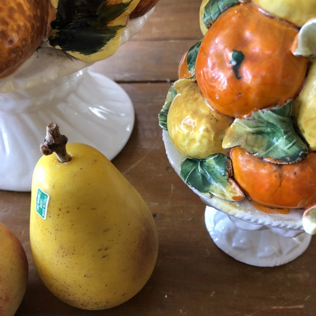Art Deco Italian Fruit Orange and Lemon Topiaries With Marble Fruits - 4 Piece Set For Sale - Image 3 of 7