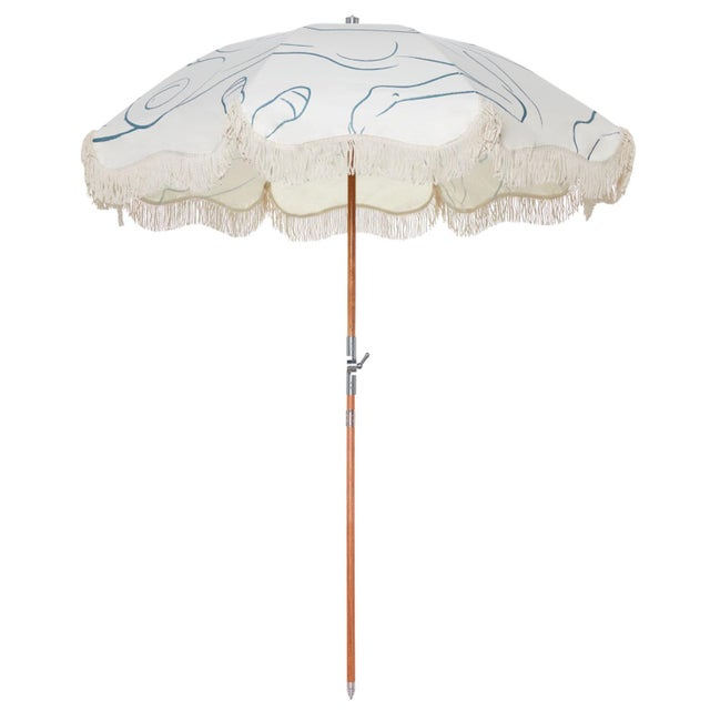Contemporary Premium Beach Umbrella - Le Basque Figure Drawing with Fringe For Sale - Image 3 of 3