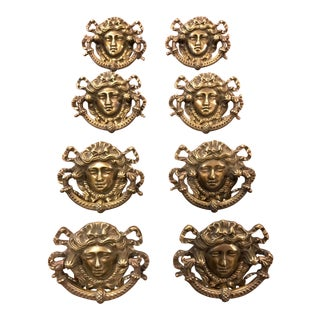 1900s Art Nouveau Figural Brass Drawer Pulls - Set of 8 For Sale