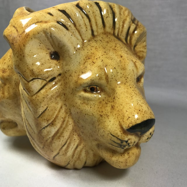 Mid-Century Lion Head Planter or Vase For Sale - Image 10 of 11