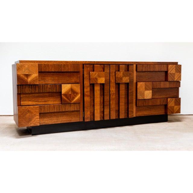 Brutalist Mid Century Modern Lane Mosaic Brutalist Dresser For Sale - Image 3 of 8