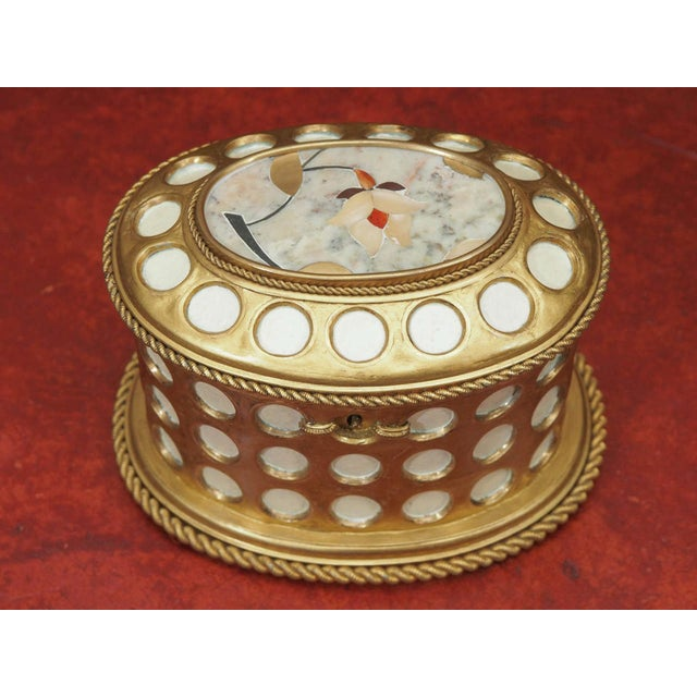"""French Charles X Gilt and Mosaic Jewelry Box, Signed """"Tahan, Paris"""" For Sale - Image 3 of 9"""