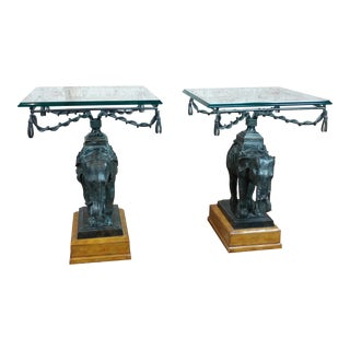 Maitland Smith Beautiful Bronze Elephant side Tables-A pair For Sale
