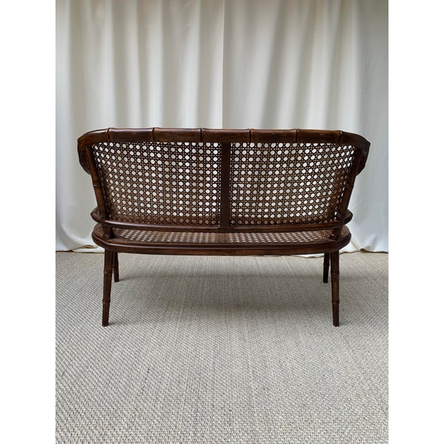 Mid-Century Modern Mid 20th Century Hollywood Regency Chippendale Style Faux Bamboo and Cane Settee For Sale - Image 3 of 10