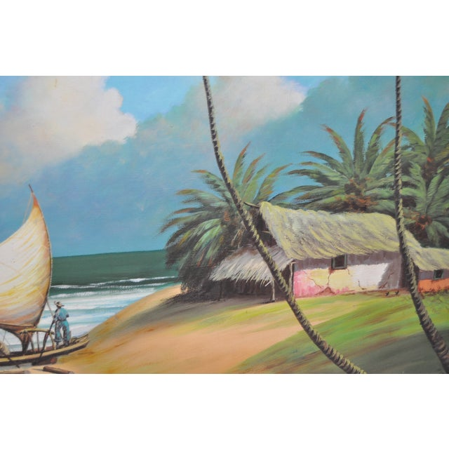 Vintage Island Oil Painting by Balikian - Image 7 of 8