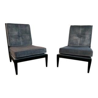Modern Jonathan Adler Blue Velvet Slipper Chairs- A Pair For Sale