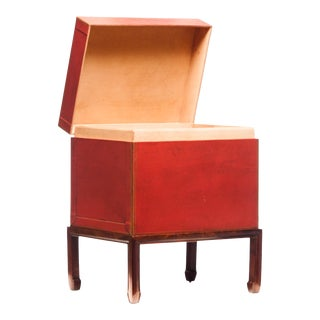 Lawrence & Scott Hand-Painted Mandarin Red Leather Box on Handcrafted Wood Stand For Sale