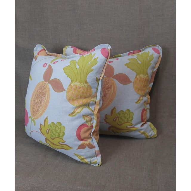 Raoul Textiles Throw Pillows in Miranda Linen Print - a Pair For Sale In Los Angeles - Image 6 of 7