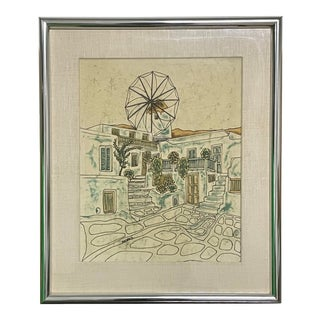 "1980s Batik ""Mykonos"" Grecian Village Scene Batik on Silk Painting, Framed For Sale"