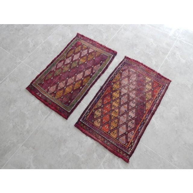 Boho Chic Pair Handwoven Turkish Kilim Rug Pastel Colors Area Rug Petite Braided Kilim - 1′8″ × 2′9″ For Sale - Image 3 of 9