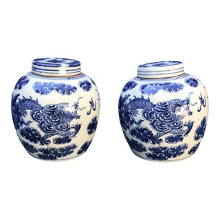 Blue & White Chinese Dragon Ginger Jars - A Pair For Sale