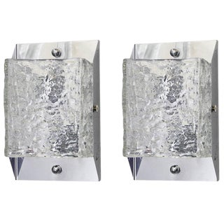 Pair of Textured Sconces / Flush Mounts by Mazzega For Sale