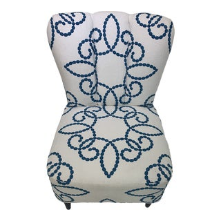 Vintage Upholstered Slipper Chair For Sale
