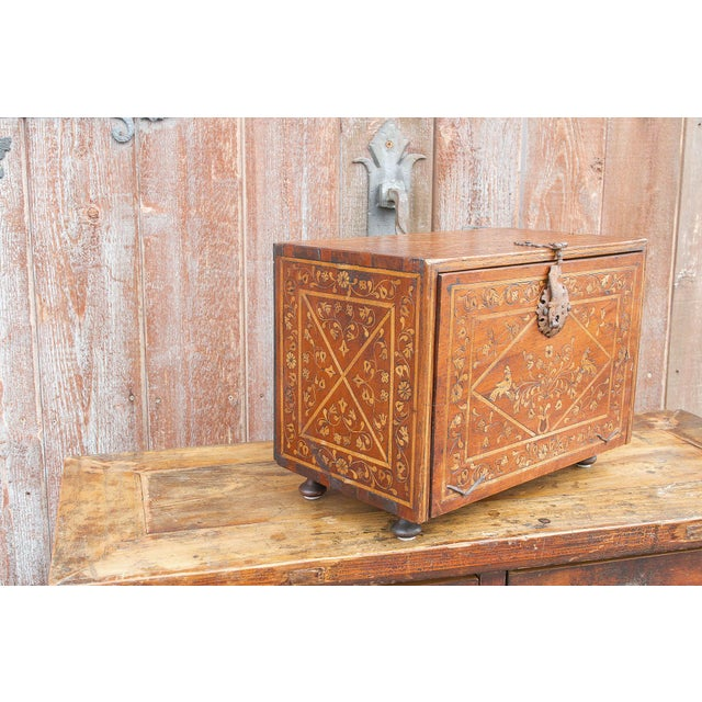 Spanish Vine Motif Wood Inlay Bargueno For Sale - Image 12 of 13