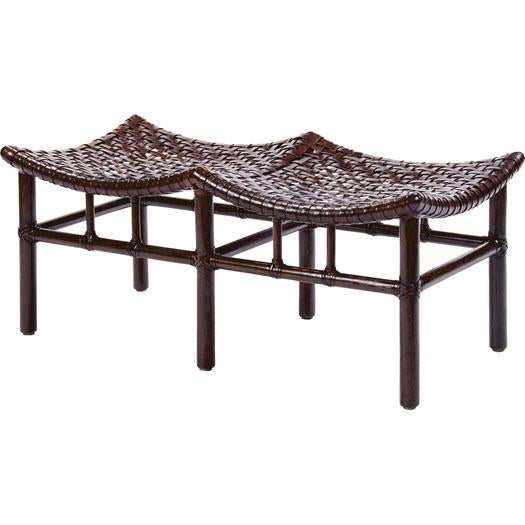McGuire's Antalya™ Collection relies on a bold, laced pattern of rawhide woven onto rattan frames for its distinction....