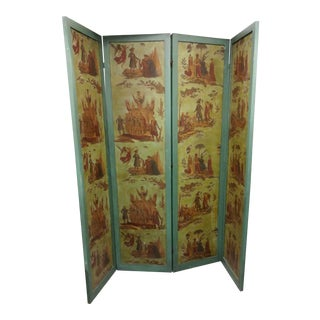 Antique Painted Wood Screen For Sale