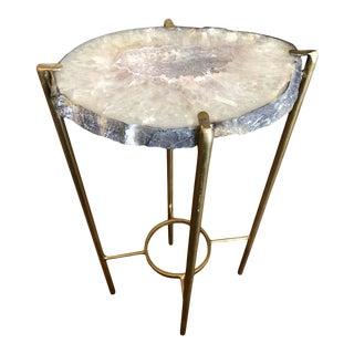 Modern Lavender and White Quartz Tea Table For Sale