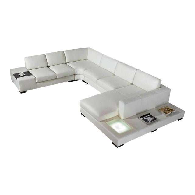 T35 White Leather Sectional Sofa With Lights - 3 PC. For Sale