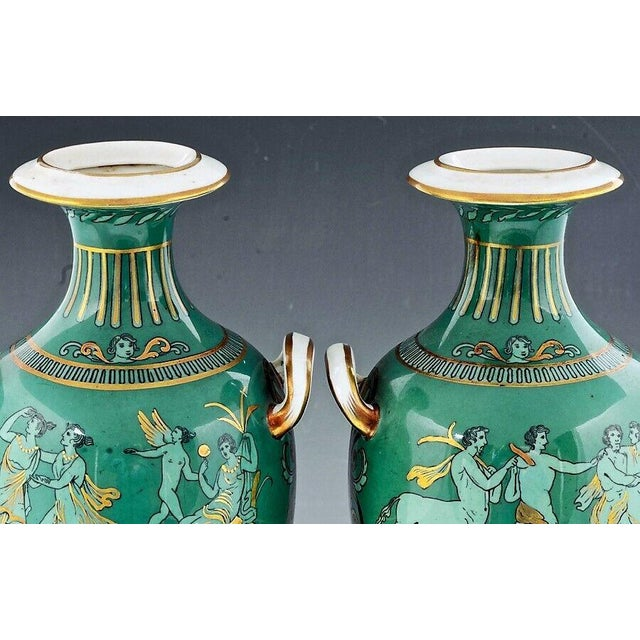 English Porcelain Neoclassical Jade Green-Ground Vases - a Pair For Sale In Philadelphia - Image 6 of 8